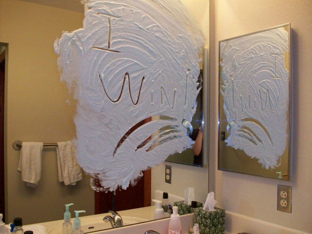 how to keep mirrors from fogging up with shaving cream