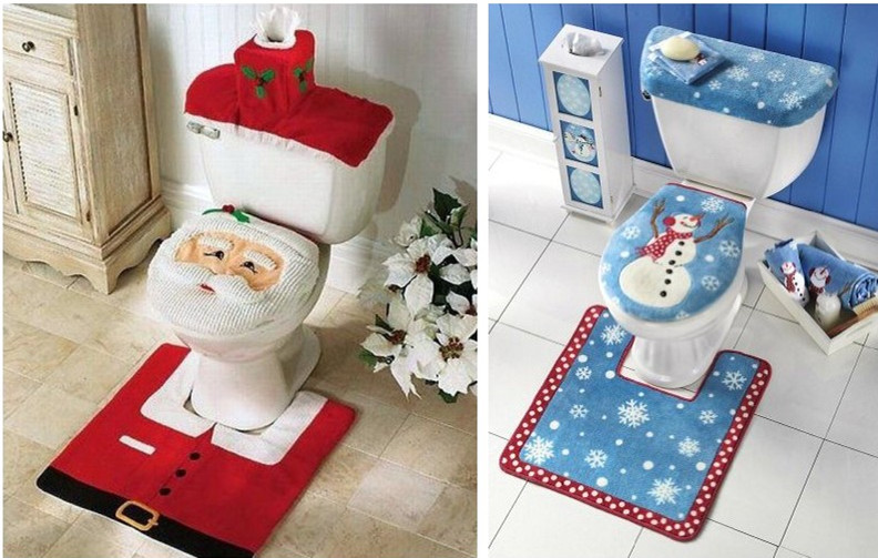 Christmas Toilet Seat Cover Set