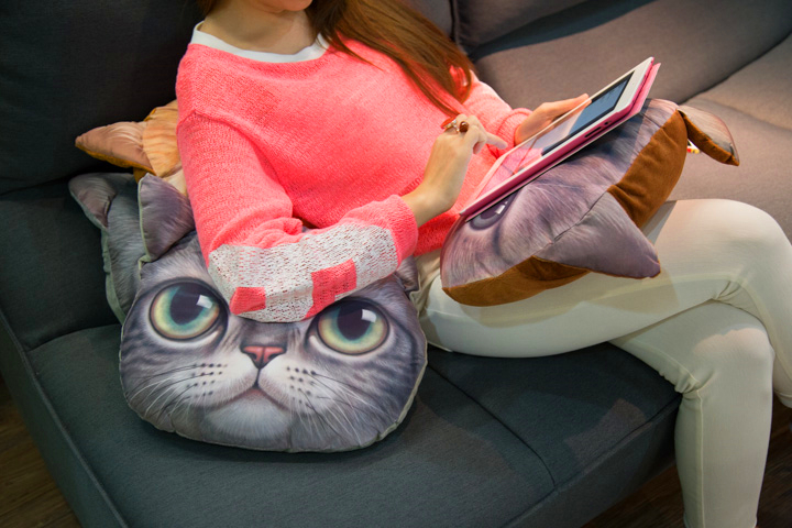 3D dog cat throw pillow