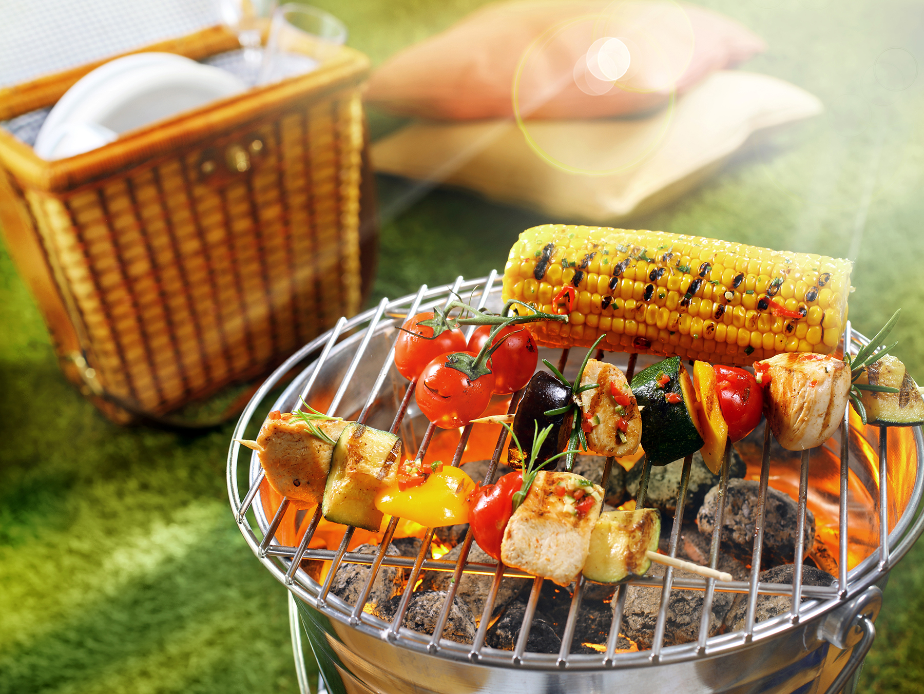 grilling vegetables and fruit