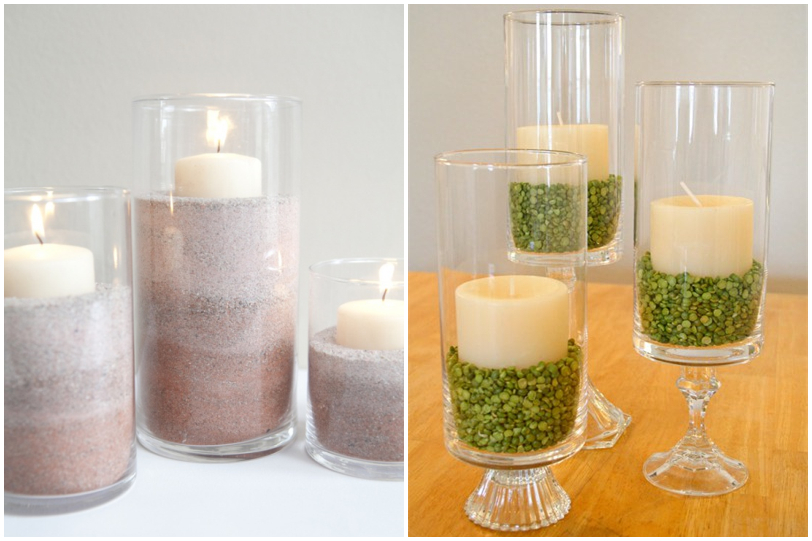 home decor put a pillar candle inside the transparent glass container to decorate the pretty glass container to add the sand in different color is super - Candles Home Decor
